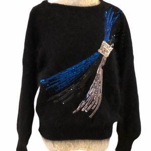 New Years Eve Escada Angora Sequined Black Sweater